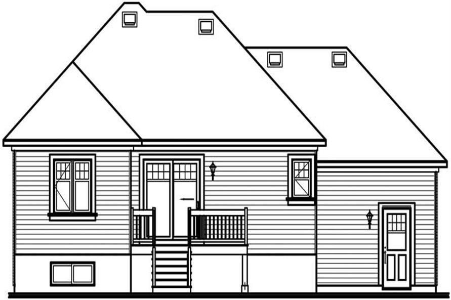 Home Plan Rear Elevation of this 2-Bedroom,1007 Sq Ft Plan -126-1462