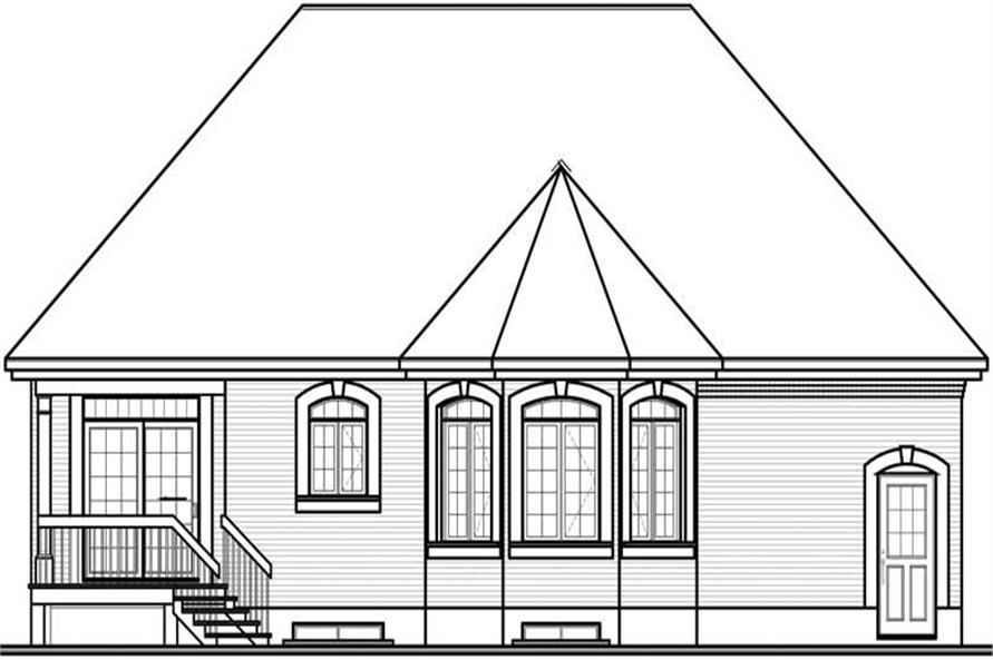 Home Plan Rear Elevation of this 2-Bedroom,1127 Sq Ft Plan -126-1464