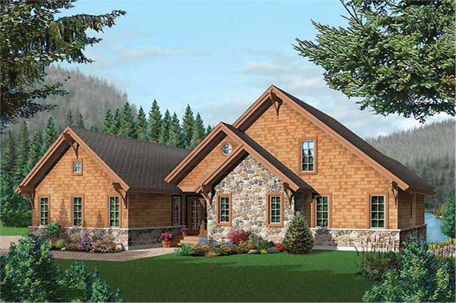 Home Plan Front Elevation of this 5-Bedroom,3506 Sq Ft Plan -126-1465
