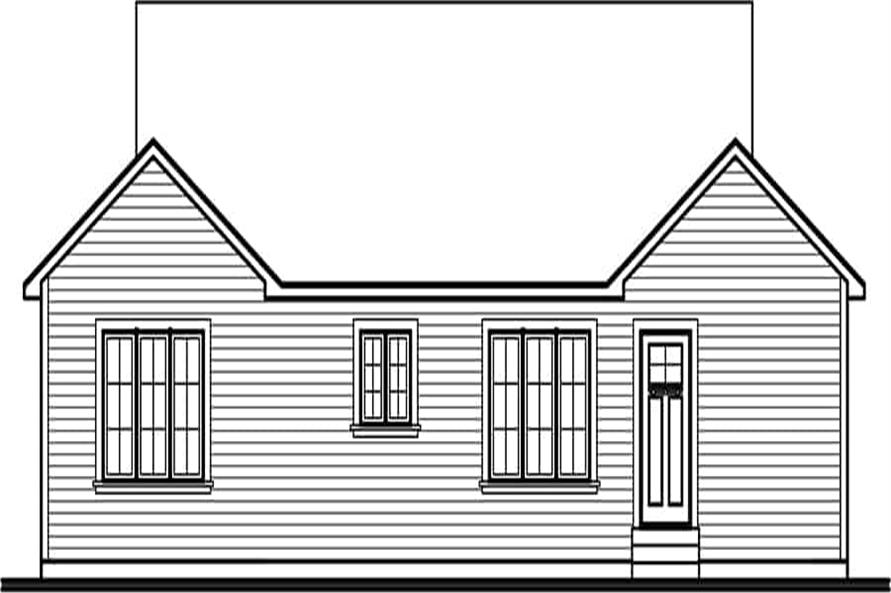 Home Plan Rear Elevation of this 2-Bedroom,1018 Sq Ft Plan -126-1467