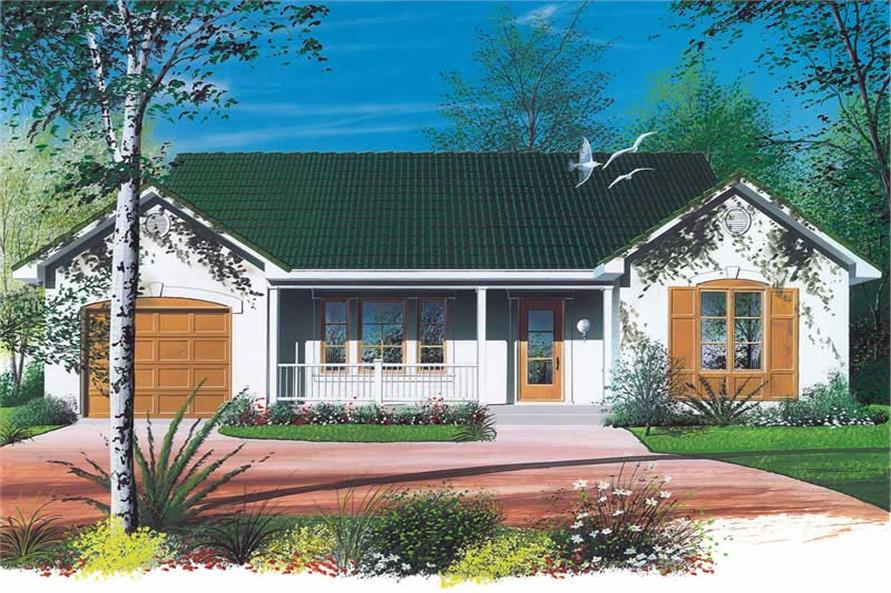 2-Bedroom, 1018 Sq Ft Ranch House Plan - 126-1467 - Front Exterior