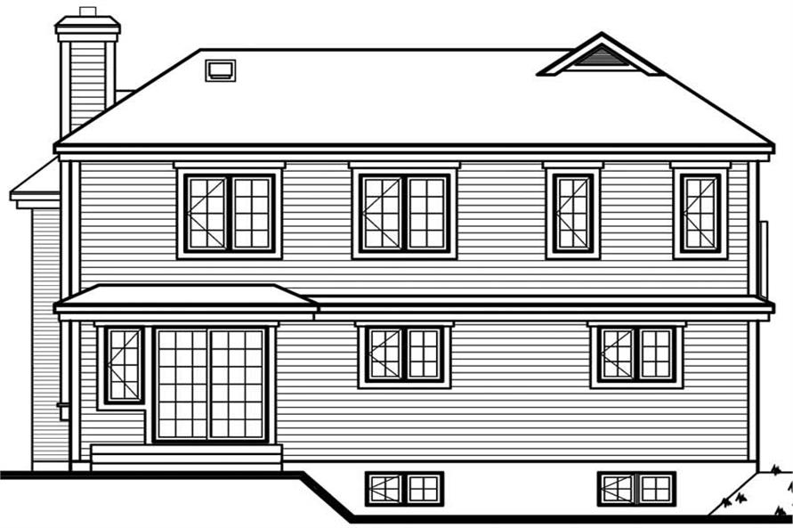 Home Plan Rear Elevation of this 3-Bedroom,1661 Sq Ft Plan -126-1470
