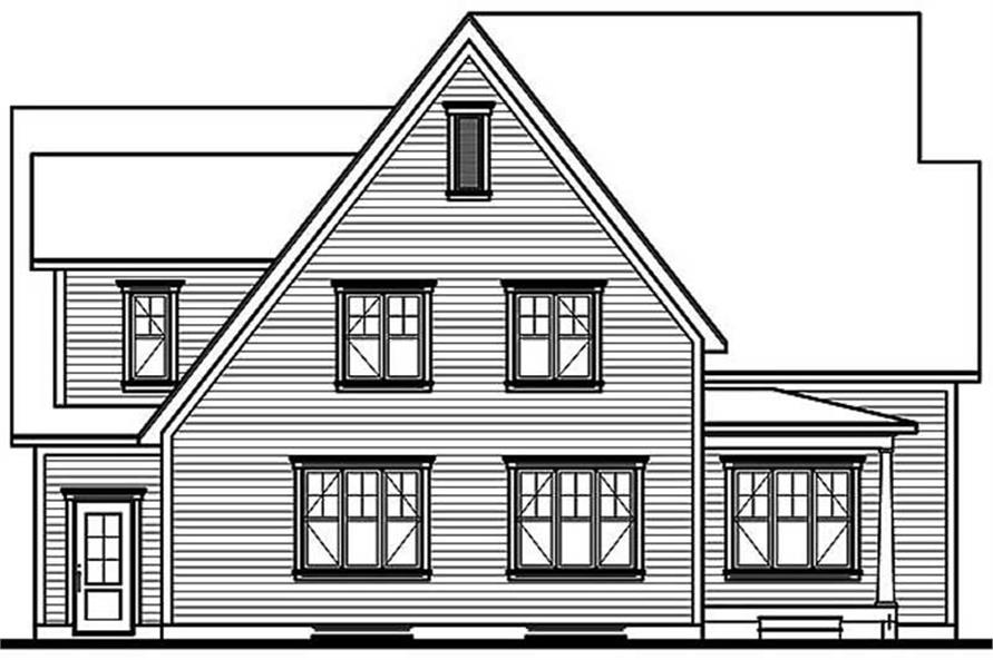 Home Plan Rear Elevation of this 3-Bedroom,2028 Sq Ft Plan -126-1476