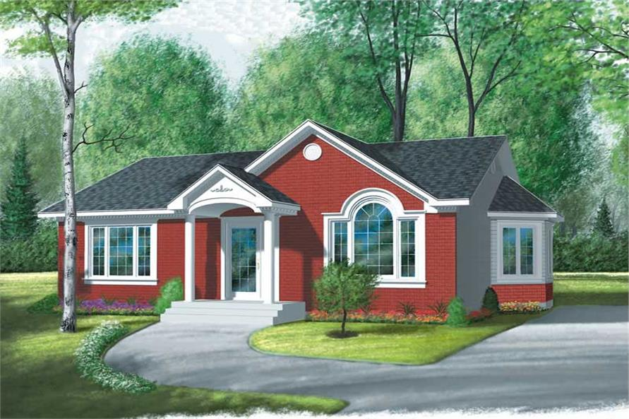2-Bedroom, 970 Sq Ft Ranch House Plan - 126-1480 - Front Exterior