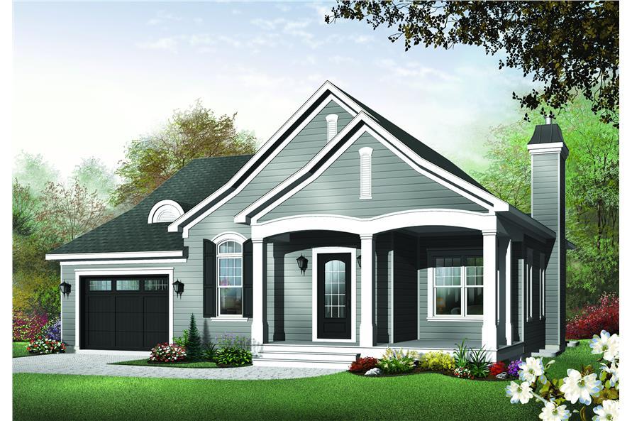 126-1483: Home Plan Rendering-Front Door