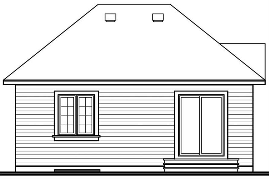 Home Plan Rear Elevation of this 2-Bedroom,832 Sq Ft Plan -126-1485
