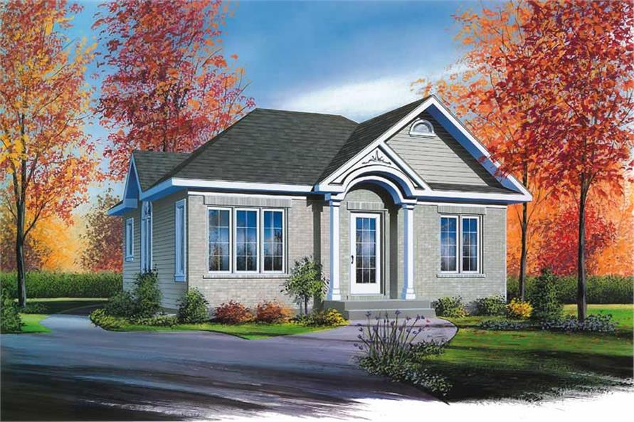 2-Bedroom, 832 Sq Ft Bungalow House Plan - 126-1485 - Front Exterior