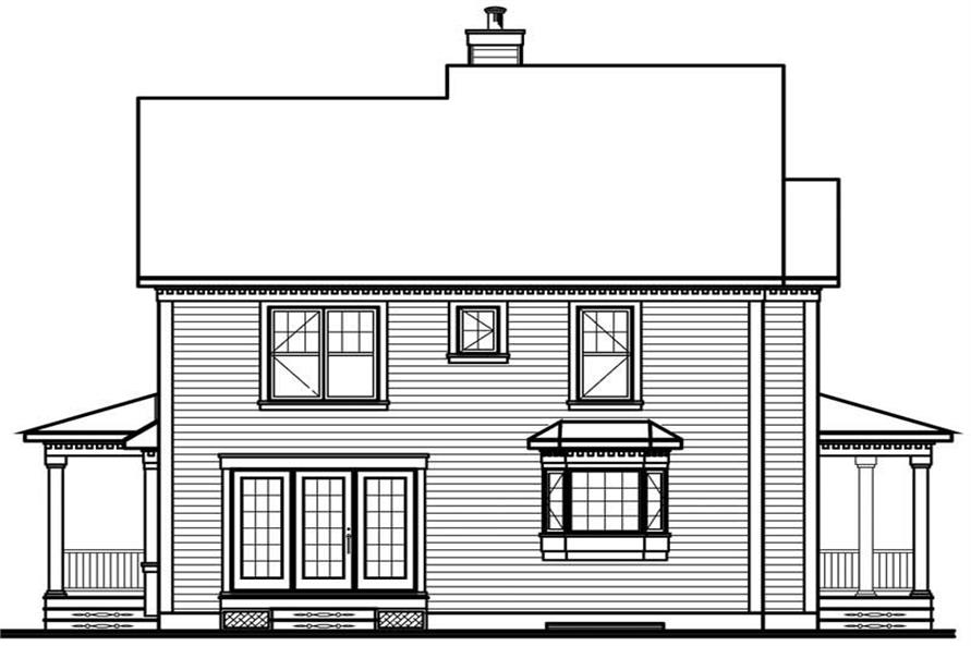 Home Plan Rear Elevation of this 3-Bedroom,1898 Sq Ft Plan -126-1486