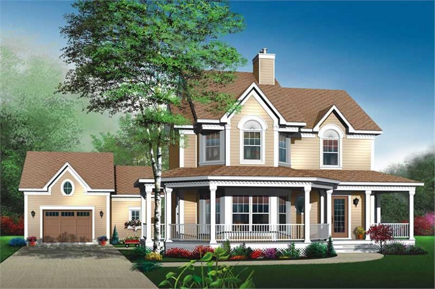 3-Bedroom, 1898 Sq Ft Country House Plan - 126-1486 - Front Exterior