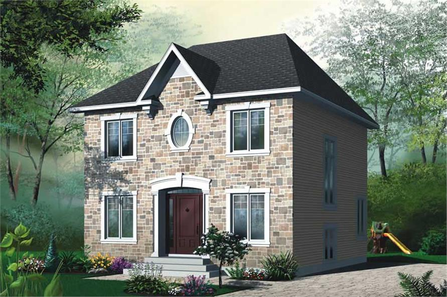 3-Bedroom, 1500 Sq Ft Contemporary House Plan - 126-1487 - Front Exterior