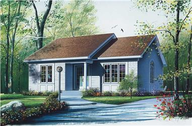 2-Bedroom, 948 Sq Ft Bungalow House Plan - 126-1488 - Front Exterior