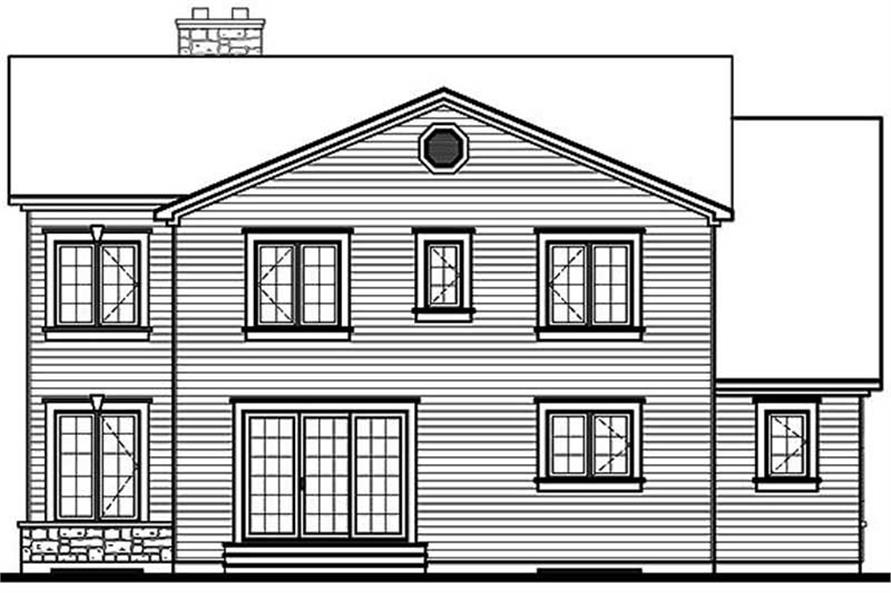 Home Plan Rear Elevation of this 4-Bedroom,2265 Sq Ft Plan -126-1490