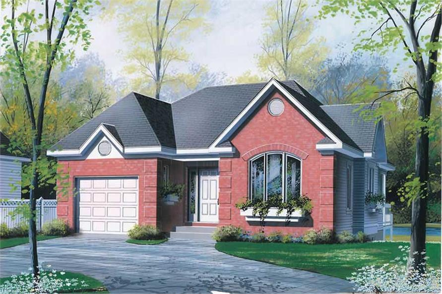 2-Bedroom, 1093 Sq Ft Bungalow House Plan - 126-1491 - Front Exterior