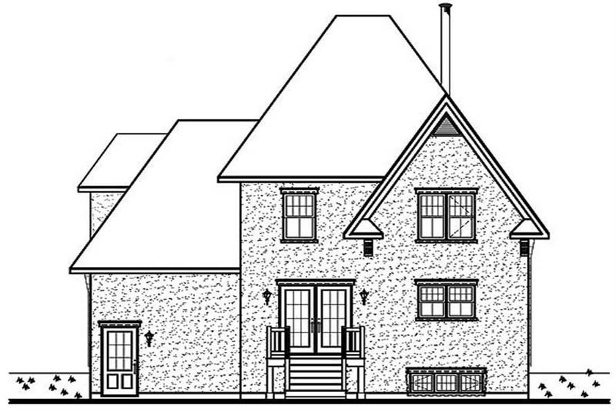 Home Plan Rear Elevation of this 3-Bedroom,1513 Sq Ft Plan -126-1496