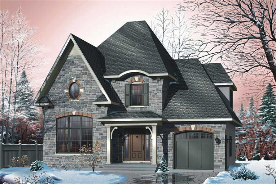 3-Bedroom, 1513 Sq Ft European House Plan - 126-1496 - Front Exterior