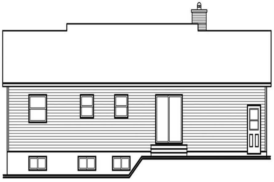 Home Plan Rear Elevation of this 3-Bedroom,1176 Sq Ft Plan -126-1497