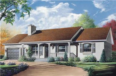3-Bedroom, 1176 Sq Ft Ranch House Plan - 126-1497 - Front Exterior