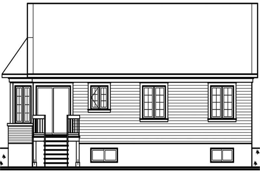 Home Plan Rear Elevation of this 3-Bedroom,1104 Sq Ft Plan -126-1500