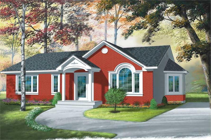 3-Bedroom, 1104 Sq Ft Ranch House Plan - 126-1500 - Front Exterior