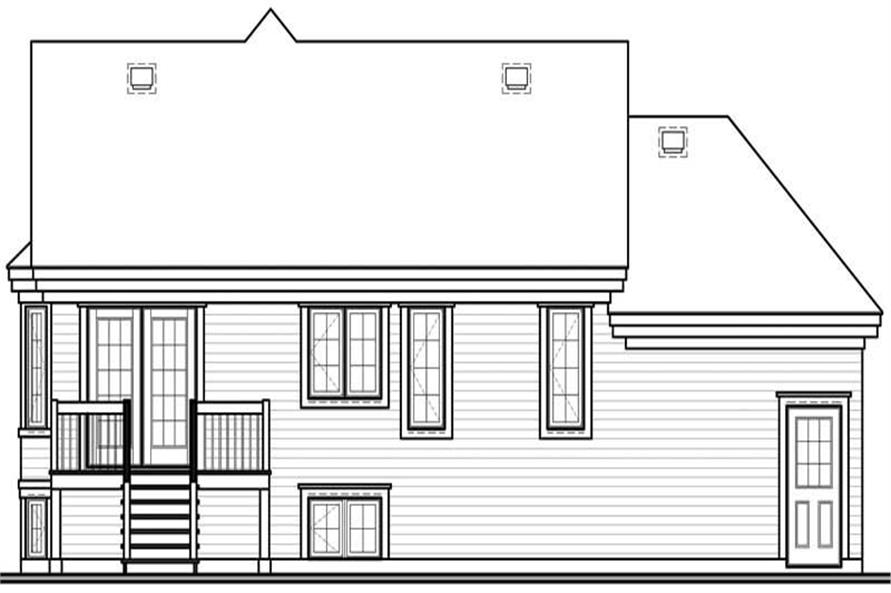 Home Plan Rear Elevation of this 2-Bedroom,1168 Sq Ft Plan -126-1504