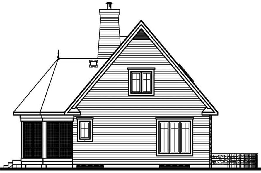 Home Plan Rear Elevation of this 3-Bedroom,1442 Sq Ft Plan -126-1506