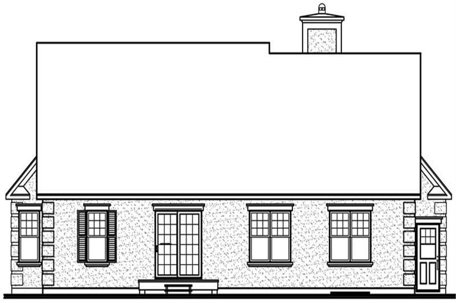 Home Plan Rear Elevation of this 3-Bedroom,1460 Sq Ft Plan -126-1507