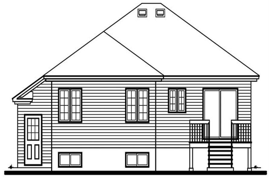 Home Plan Rear Elevation of this 2-Bedroom,1282 Sq Ft Plan -126-1510