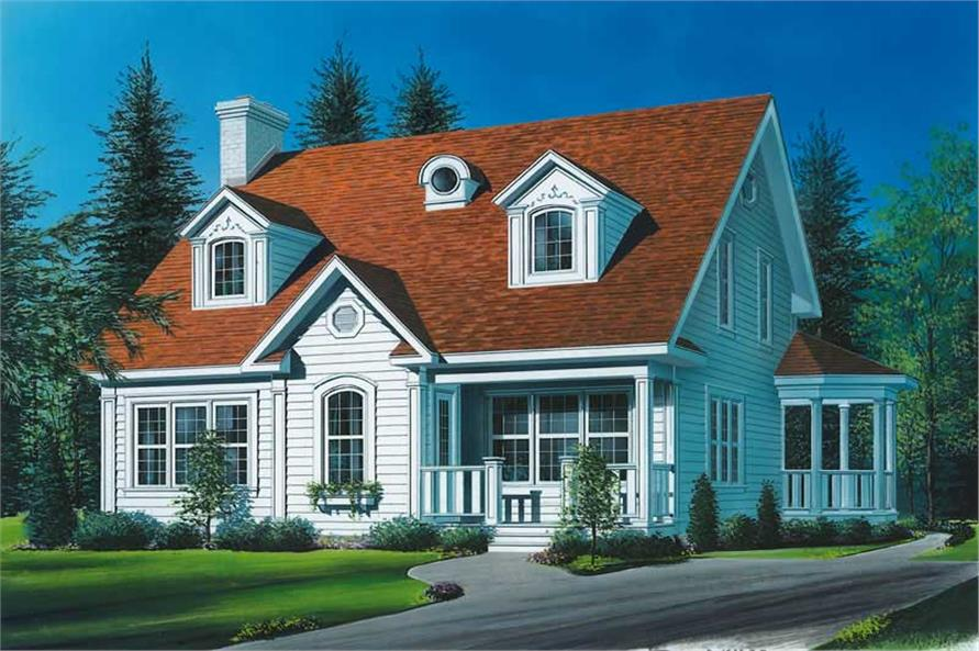 3-Bedroom, 2056 Sq Ft Country House Plan - 126-1511 - Front Exterior