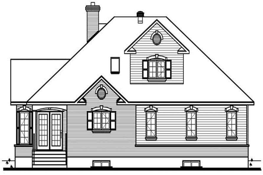 Home Plan Rear Elevation of this 3-Bedroom,2101 Sq Ft Plan -126-1513
