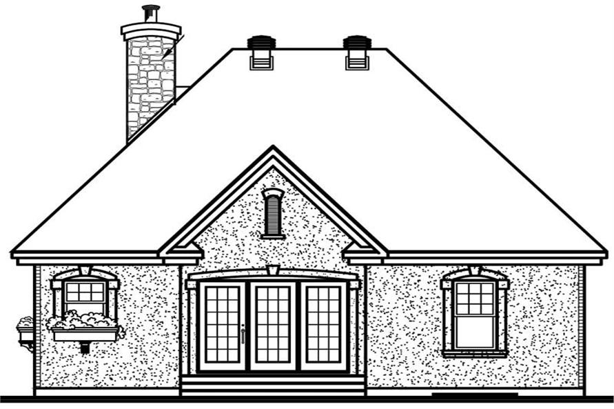 Home Plan Rear Elevation of this 2-Bedroom,1094 Sq Ft Plan -126-1518