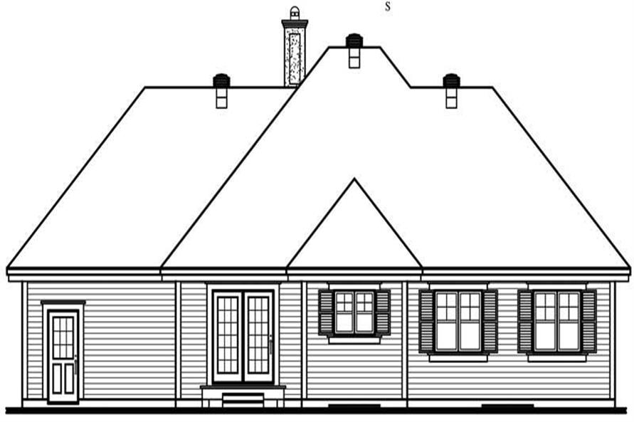 Home Plan Rear Elevation of this 3-Bedroom,1370 Sq Ft Plan -126-1526