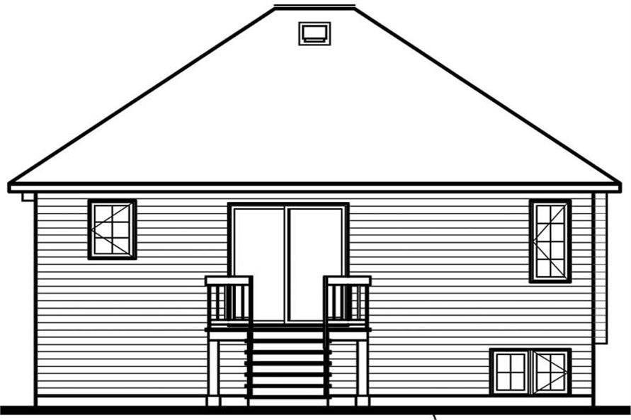 Home Plan Rear Elevation of this 2-Bedroom,878 Sq Ft Plan -126-1527