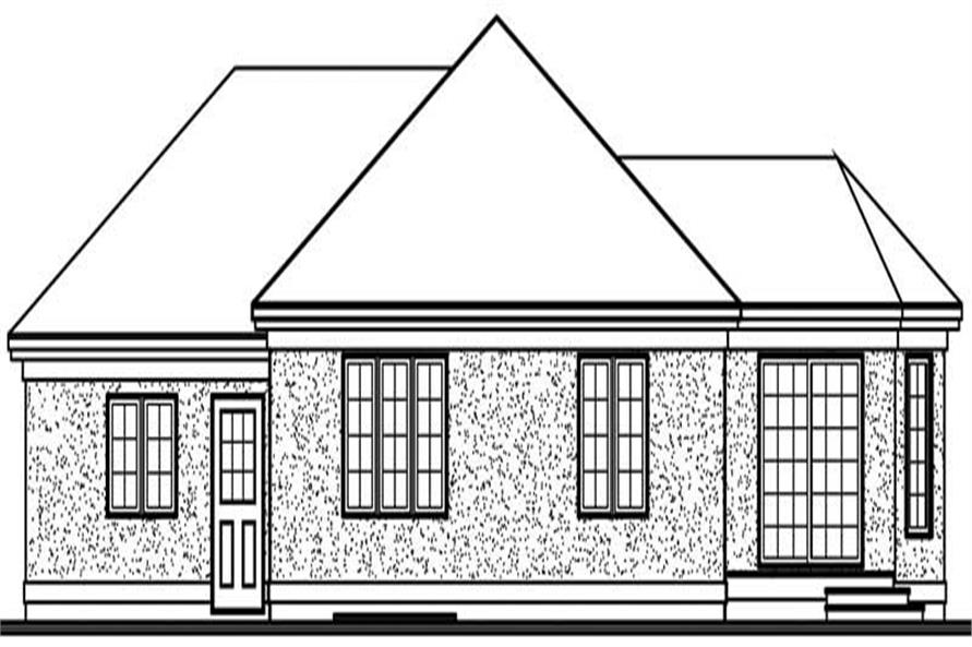 Home Plan Rear Elevation of this 2-Bedroom,1196 Sq Ft Plan -126-1530