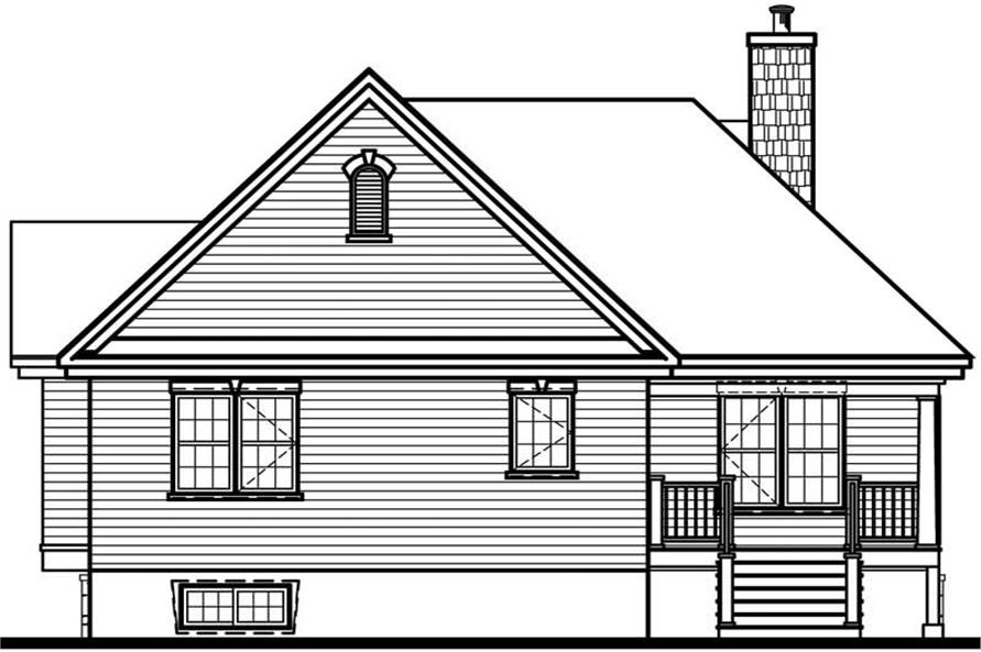 Home Plan Rear Elevation of this 2-Bedroom,1281 Sq Ft Plan -126-1534