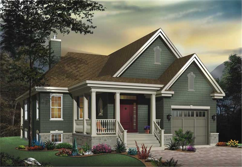 Front elevation of Bungalow home (ThePlanCollection: House Plan #126-1534)
