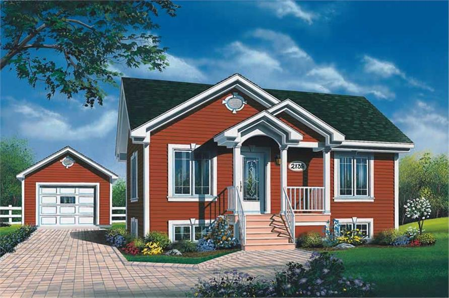 2-Bedroom, 896 Sq Ft Bungalow Home Plan - 126-1535 - Main Exterior