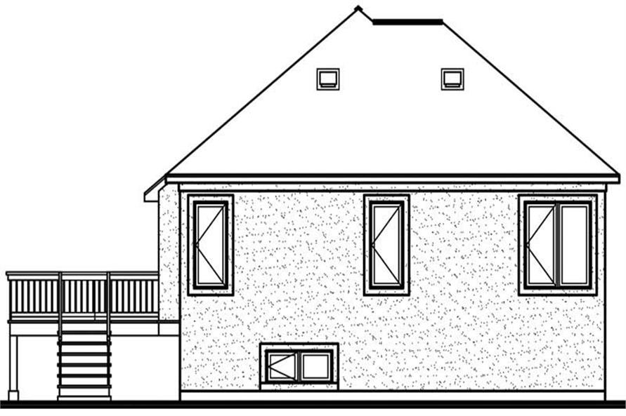 Home Plan Rear Elevation of this 3-Bedroom,1216 Sq Ft Plan -126-1539