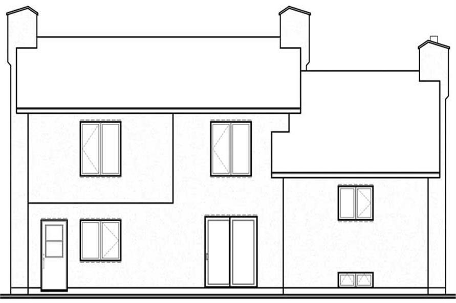 Home Plan Rear Elevation of this 3-Bedroom,1683 Sq Ft Plan -126-1540
