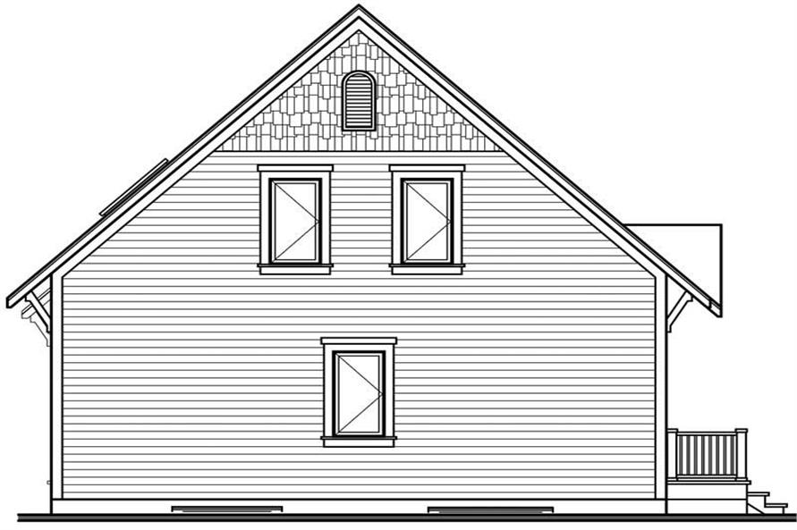 Home Plan Rear Elevation of this 3-Bedroom,1381 Sq Ft Plan -126-1543