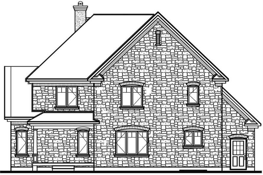 Home Plan Rear Elevation of this 4-Bedroom,2279 Sq Ft Plan -126-1545