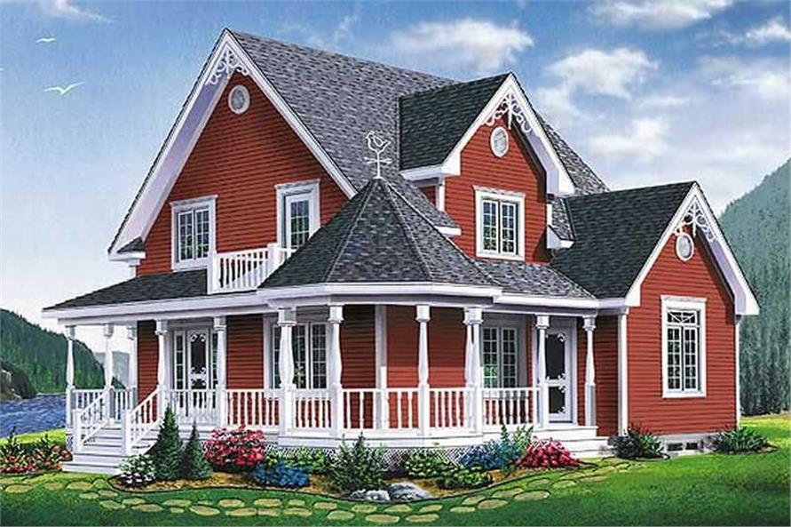 3-Bedroom, 1798 Sq Ft Country Home Plan - 126-1547 - Main Exterior
