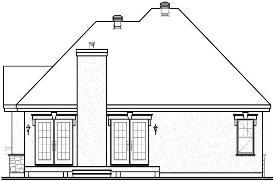 Home Plan Rear Elevation of this 2-Bedroom,1355 Sq Ft Plan -126-1548
