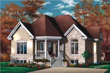 2-Bedroom, 1113 Sq Ft Bungalow House Plan - 126-1553 - Front Exterior