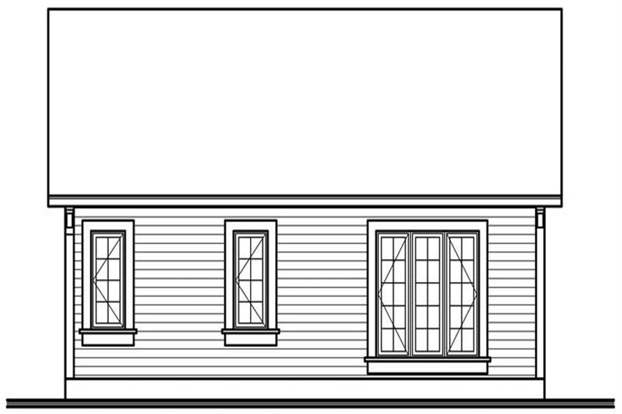 Home Plan Rear Elevation of this 1-Bedroom,784 Sq Ft Plan -126-1554