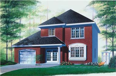 3-Bedroom, 1302 Sq Ft European House Plan - 126-1557 - Front Exterior