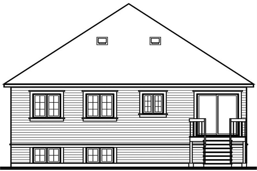 Home Plan Rear Elevation of this 2-Bedroom,1005 Sq Ft Plan -126-1558