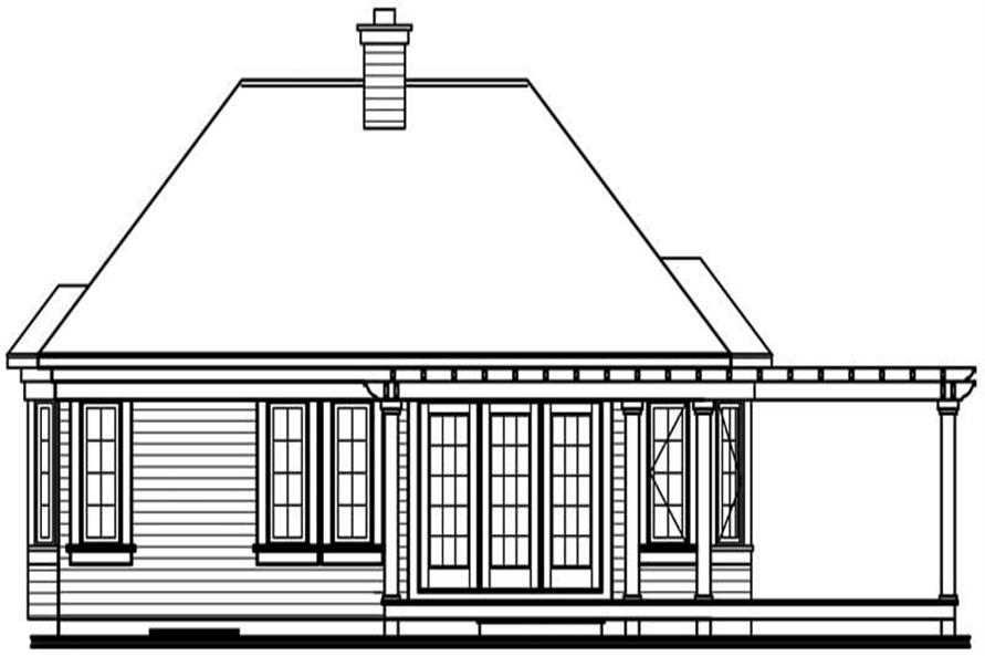 Home Plan Rear Elevation of this 2-Bedroom,1207 Sq Ft Plan -126-1563