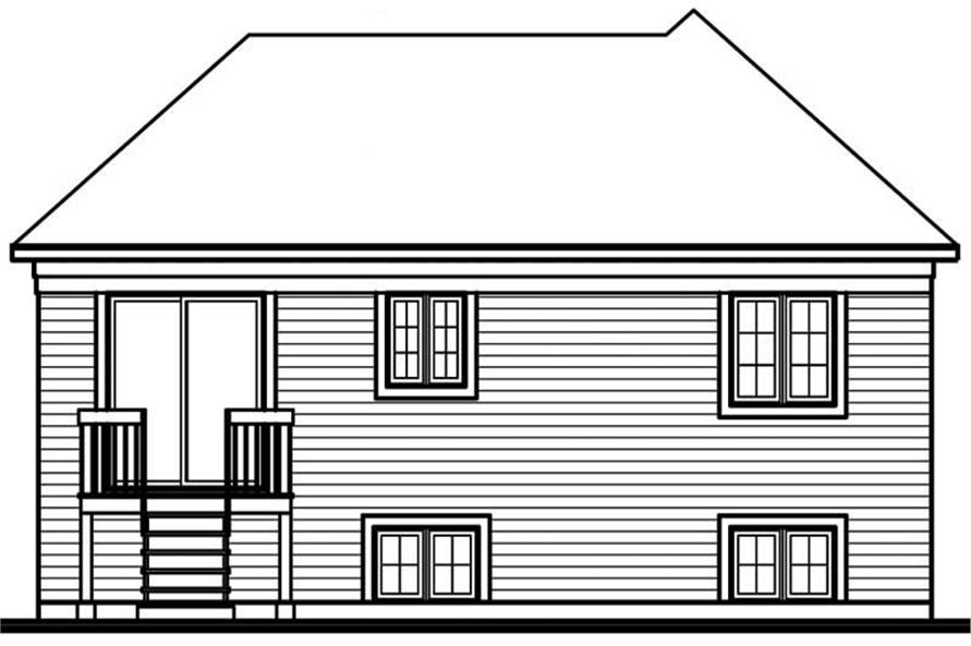 Home Plan Rear Elevation of this 2-Bedroom,996 Sq Ft Plan -126-1565