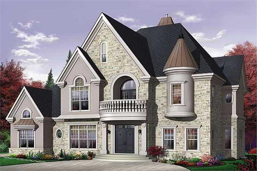 4-Bedroom, 3614 Sq Ft European Home Plan - 126-1569 - Main Exterior