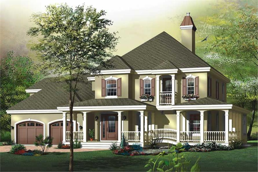 3-Bedroom, 2206 Sq Ft Country Home Plan - 126-1570 - Main Exterior